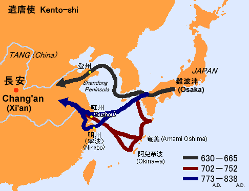 遣唐使船の航路地図